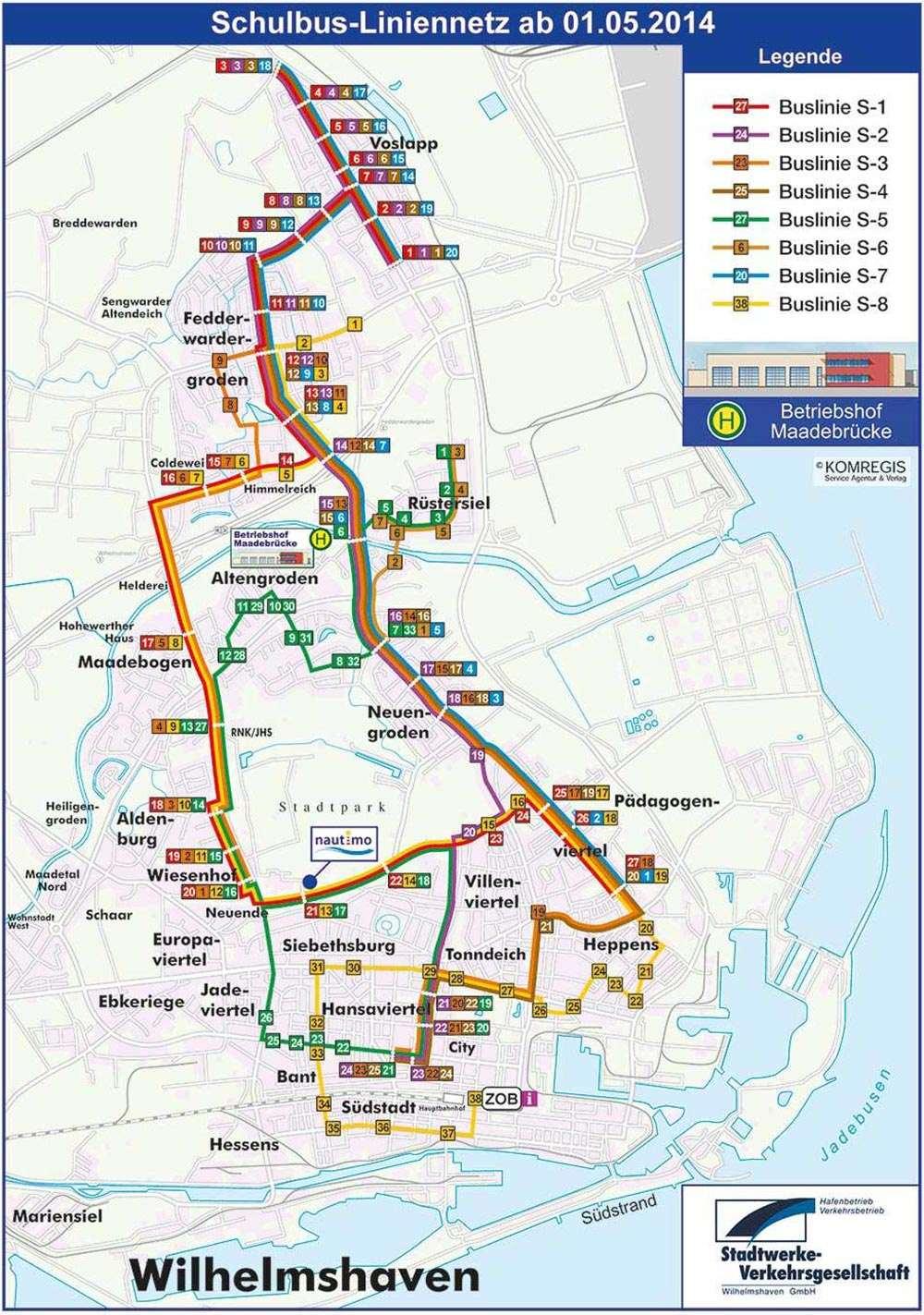Schulbus Liniennetzplan ab 2014